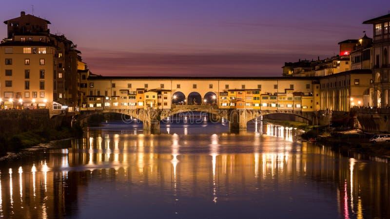 Ponte Vecchio. Nigth, Florence Italy stock image