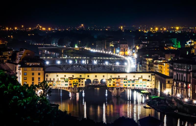 Ponte Vecchio przy noc? florence noc Italy obraz stock