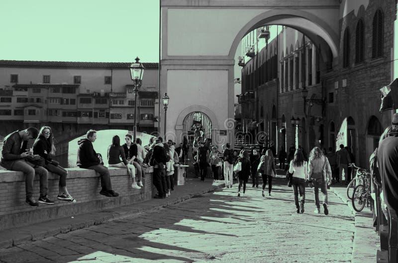 Ponte Vecchio u. Uffizi stockfotografie