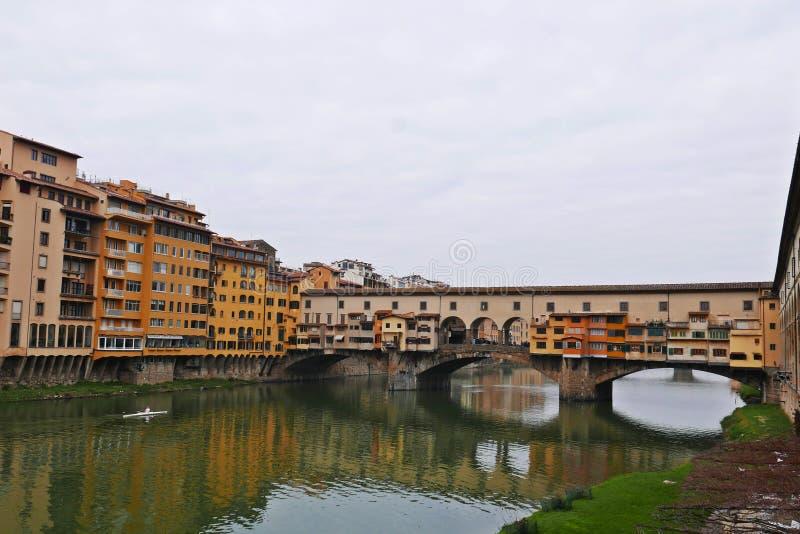 Ponte Vecchio. View of Ponte Vecchio with river Arno, Florence, Italy stock photos