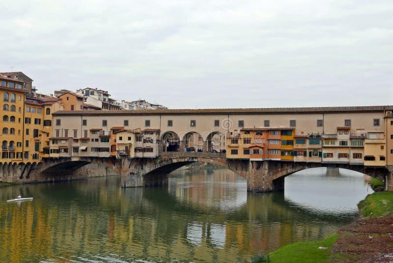 Ponte Vecchio. View of Ponte Vecchio with river Arno, Florence, Italy stock image