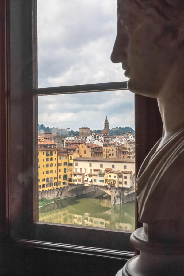 Ponte Vecchio. From a window in the Uffizi Museum, view on Florence and the ponte Vecchio stock image
