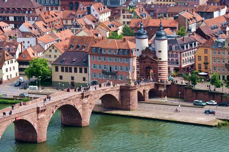 A ponte velha Heidelberg Alemanha fotografia de stock royalty free