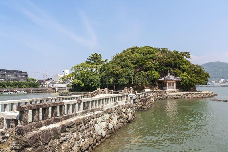 Ponte velha na cidade de Wakayama, Japão fotografia de stock