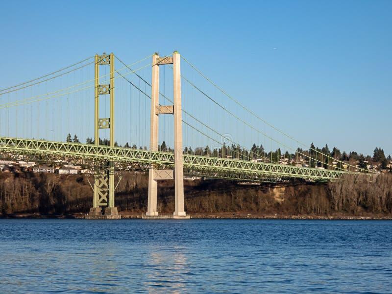 Ponte verde sotto cielo blu di estate fotografia stock libera da diritti