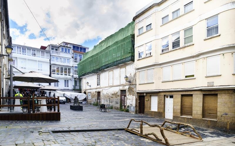 Pontedeume, Γαλικία/Ισπανία 29 Ιουλίου 2017 Τετράγωνο με το πάτωμα FO στοκ φωτογραφία