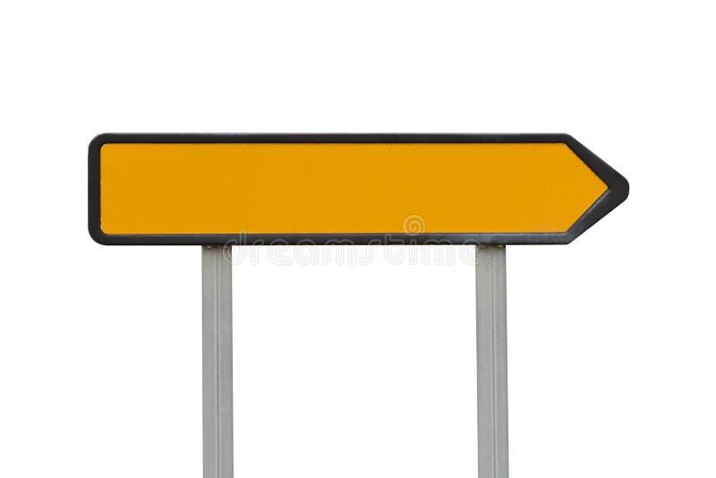 Ponteiro amarelo do sentido do sinal de estrada isolado no fundo branco imagens de stock