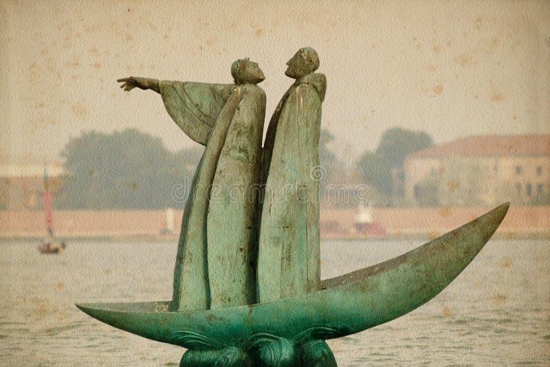 Ponteiro ao cemitério de San Michele em Veneza, Italy. fotografia de stock royalty free