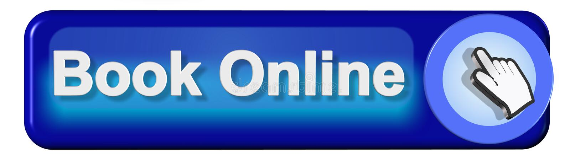 Ponteiro azul do texto do botão em linha do livro e da mão do moouse - rendição 3d ilustração royalty free