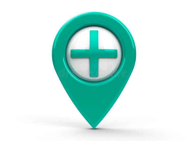 Ponteiro azul/do verde mapa mais ilustração do vetor