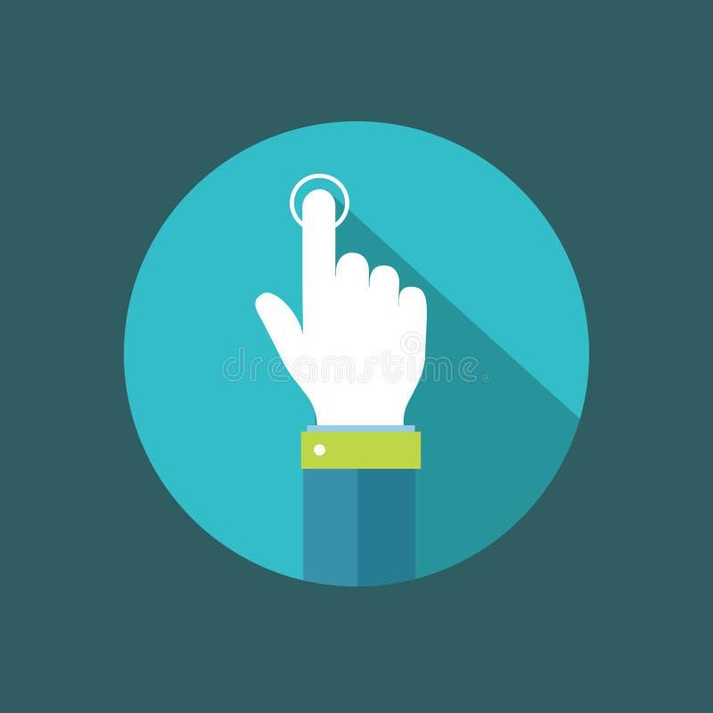 Ponteiro da mão que clica na ilustração lisa do botão