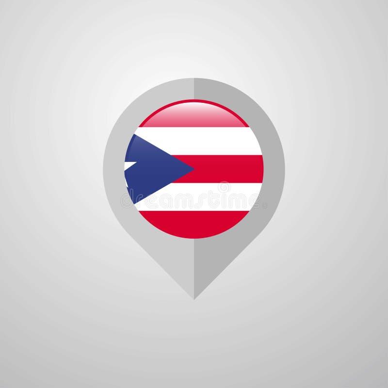 Ponteiro da navegação do mapa com vetor do projeto da bandeira de Porto Rico ilustração stock