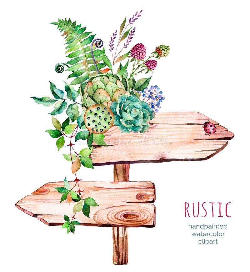 Ponteiro de madeira da aquarela Decorado com flores ilustração do vetor