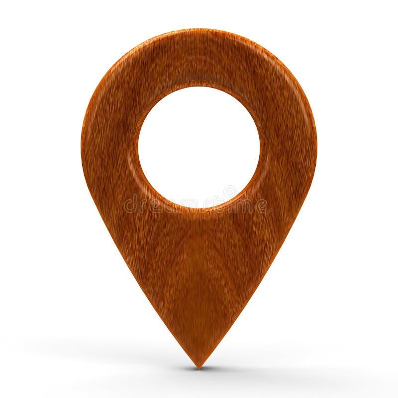 Ponteiro de madeira do mapa ilustração royalty free