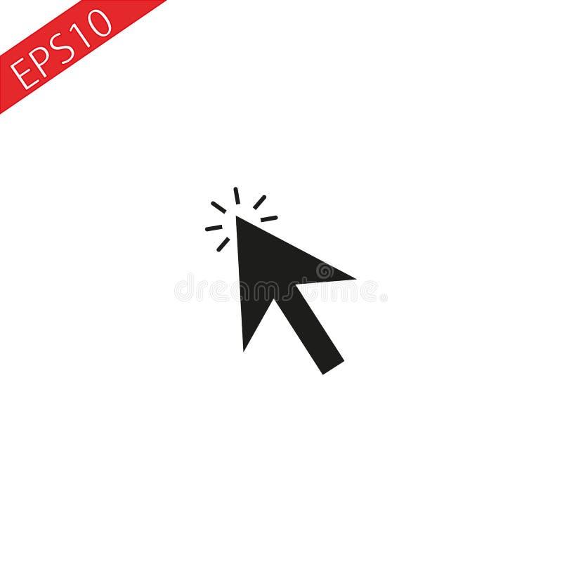 Ponteiro de seta ou ícone do vetor do botão do clique do clique do ponteiro do cursor da Web da seta ilustração royalty free