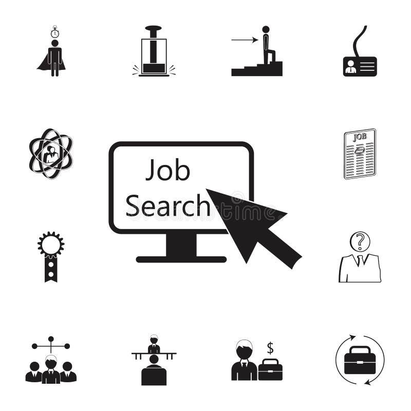 ponteiro do cursor a monitorar sobre o ícone da procura de emprego Grupo detalhado de ícones da caça da hora & do calor Sinal sup ilustração stock