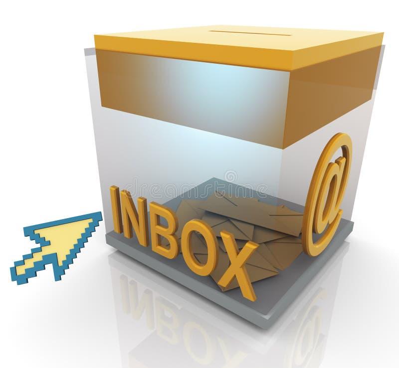 ponteiro do inbox 3d e de rato ilustração stock