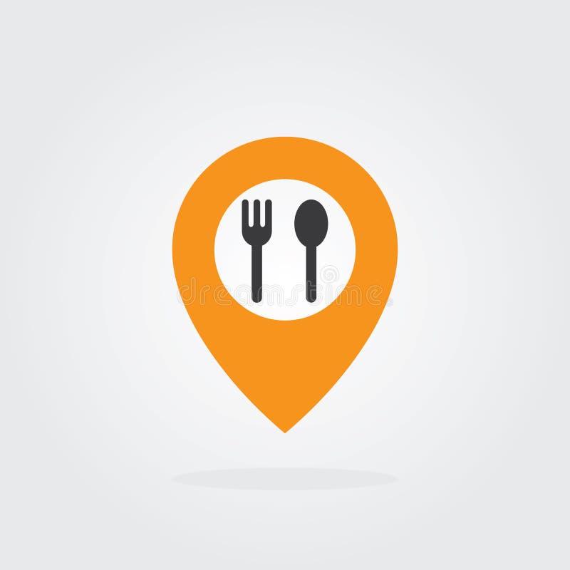 Ponteiro do lugar do alimento com vetor do símbolo da colher e da forquilha Trace o ícone do ponteiro para o alimento, cozinheiro ilustração royalty free