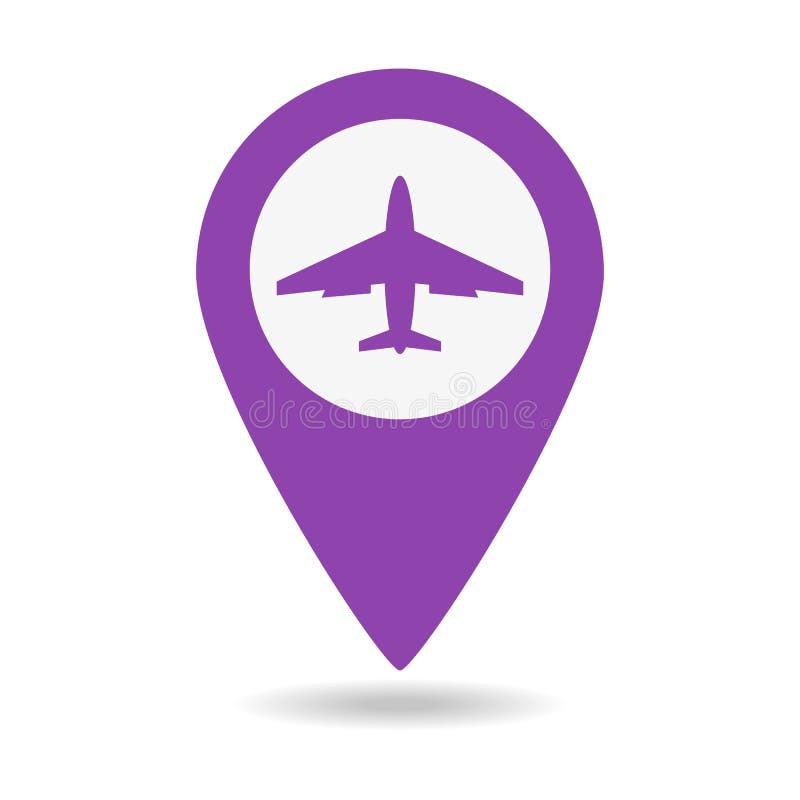 Ponteiro do mapa com ícone do avião ilustração royalty free
