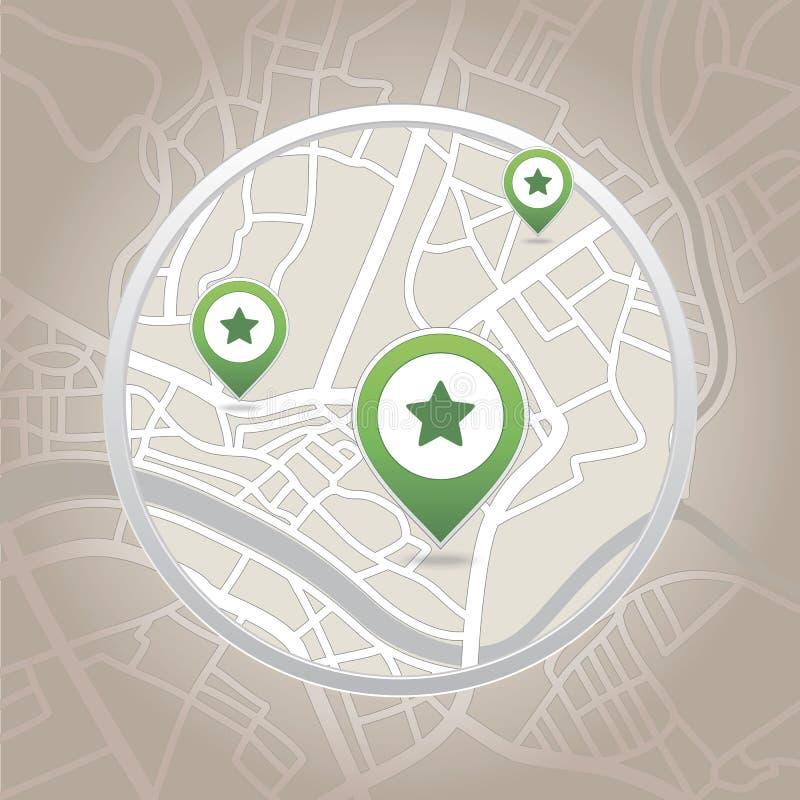 Ponteiro do mapa com ícone do coração ilustração royalty free