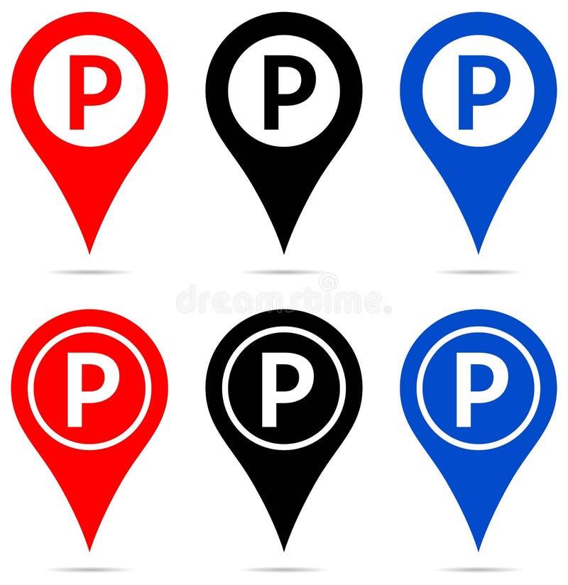 Ponteiro do mapa com ícones do sinal do estacionamento ilustração stock