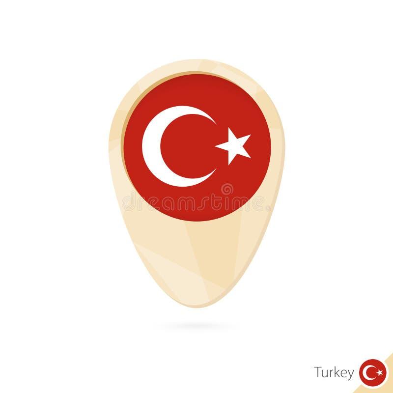 Ponteiro do mapa com a bandeira de Turquia Ícone abstrato alaranjado do mapa ilustração do vetor