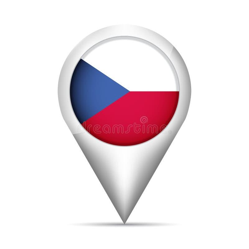 Ponteiro do mapa da bandeira de República Checa com sombra Ilustração do vetor ilustração stock