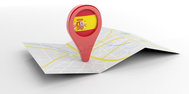 Ponteiro do mapa da Espanha no fundo branco ilustração 3D ilustração stock