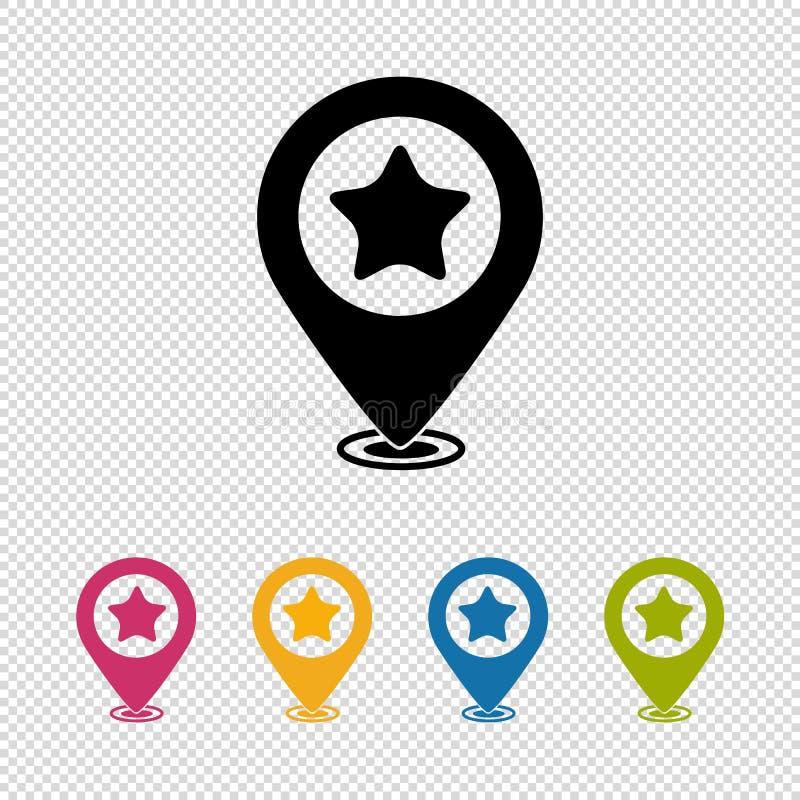 Ponteiro do mapa, inventor do lugar, ícone favorito - ilustração do vetor isolada no fundo transparente ilustração stock