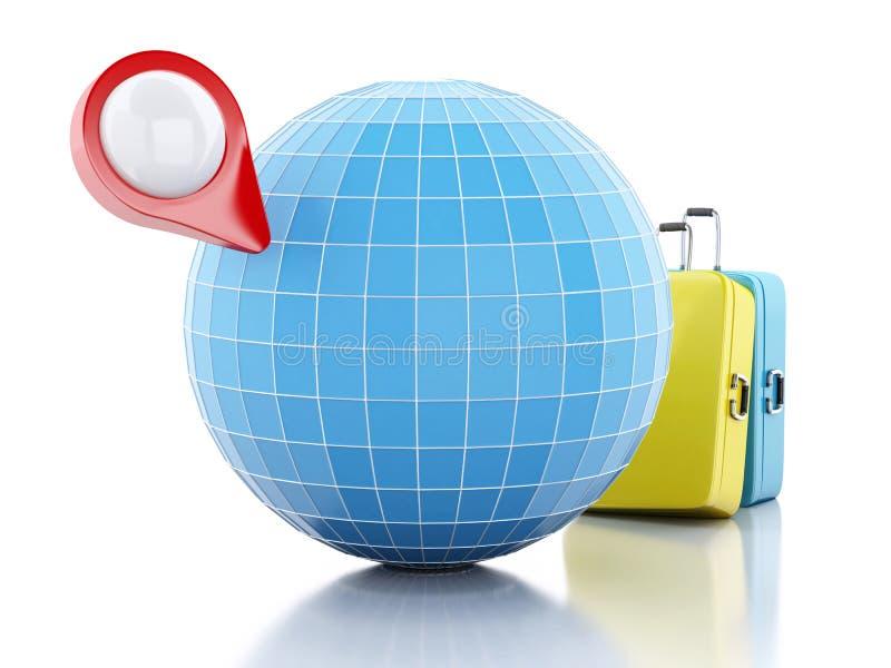 ponteiro e globo do mapa 3D ilustração royalty free