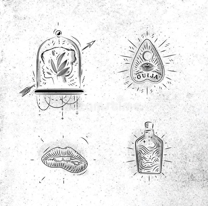 Ponteiro mágico e místico da tabuleta dos sinais ilustração royalty free