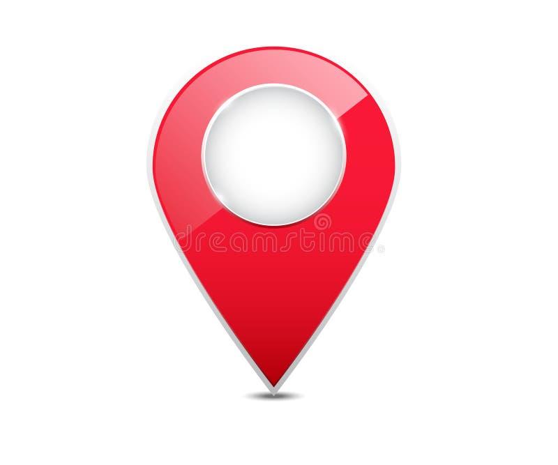 ponteiro vermelho do lugar do mapa 3d ilustração do vetor