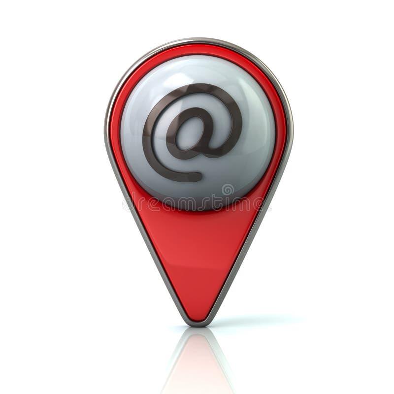 Ponteiro vermelho do mapa com ícone do email ilustração royalty free