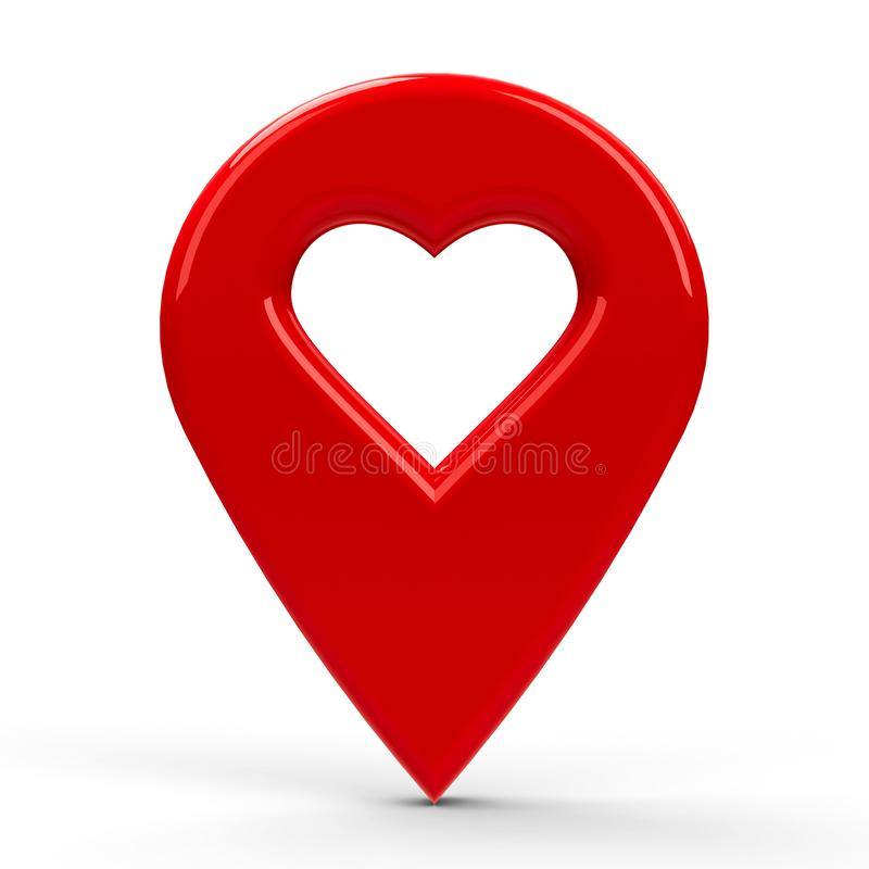 Ponteiro vermelho do mapa com coração ilustração stock