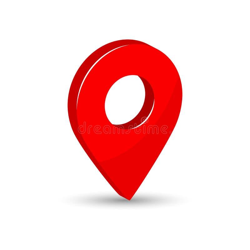 ponteiro vermelho do mapa 3d com sombra Ícone do lugar Ilustração do vetor ilustração stock