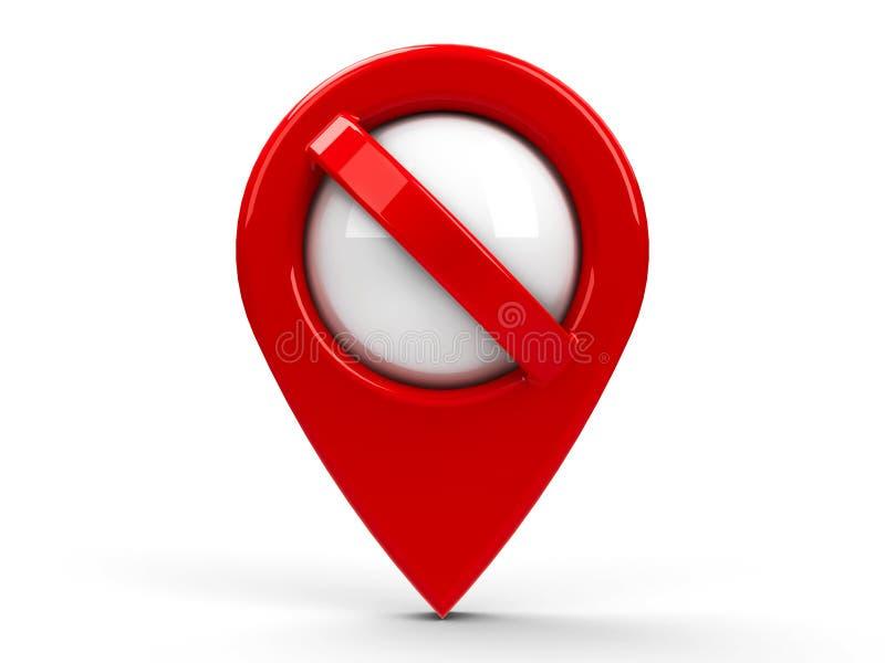 Ponteiro vermelho nenhuns do mapa 2 ilustração do vetor