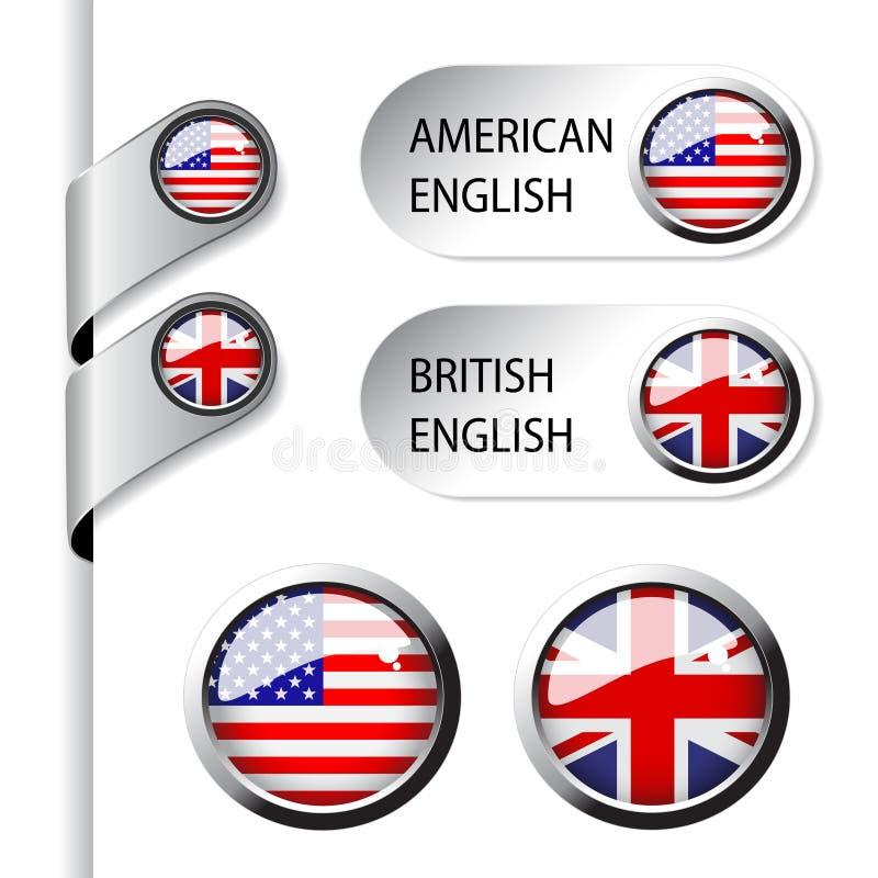 Ponteiros da língua com inglês americano e britânico da bandeira - ilustração royalty free
