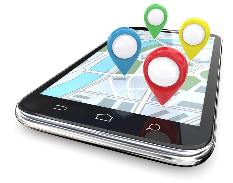 Ponteiros de Smartphone GPS ilustração do vetor