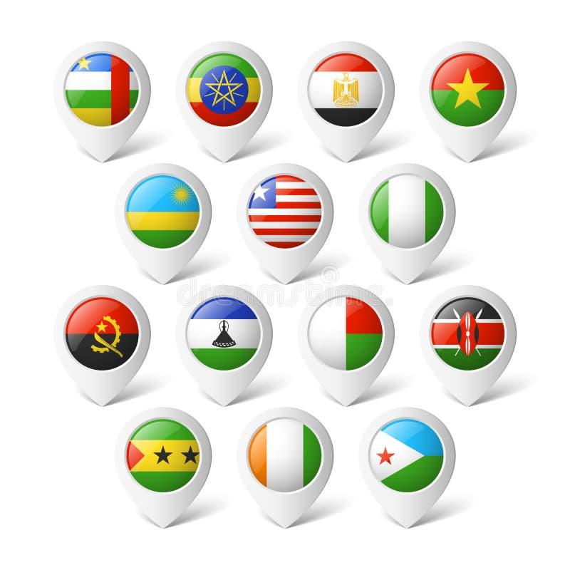 Ponteiros do mapa com bandeiras. África. ilustração stock