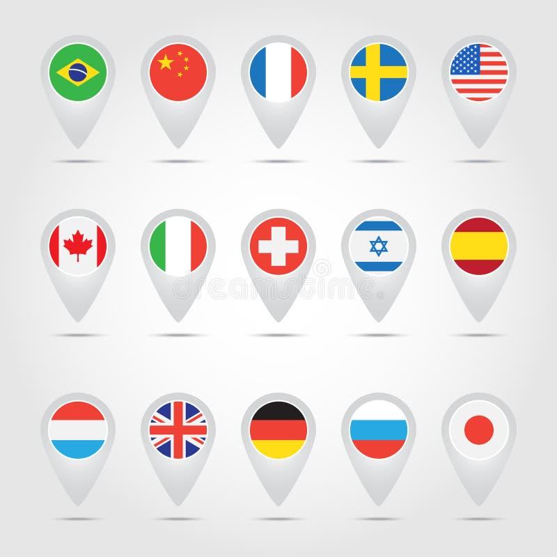 Ponteiros do mapa com bandeiras ilustração royalty free