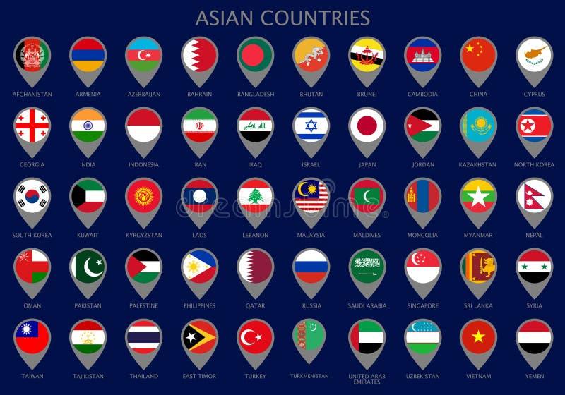 Ponteiros do mapa com todas as bandeiras dos países asiáticos ilustração royalty free