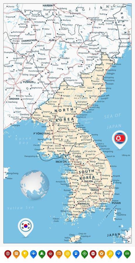 Ponteiros do mapa de estradas e do mapa da península da Coreia, Norte e Sul Kore ilustração do vetor
