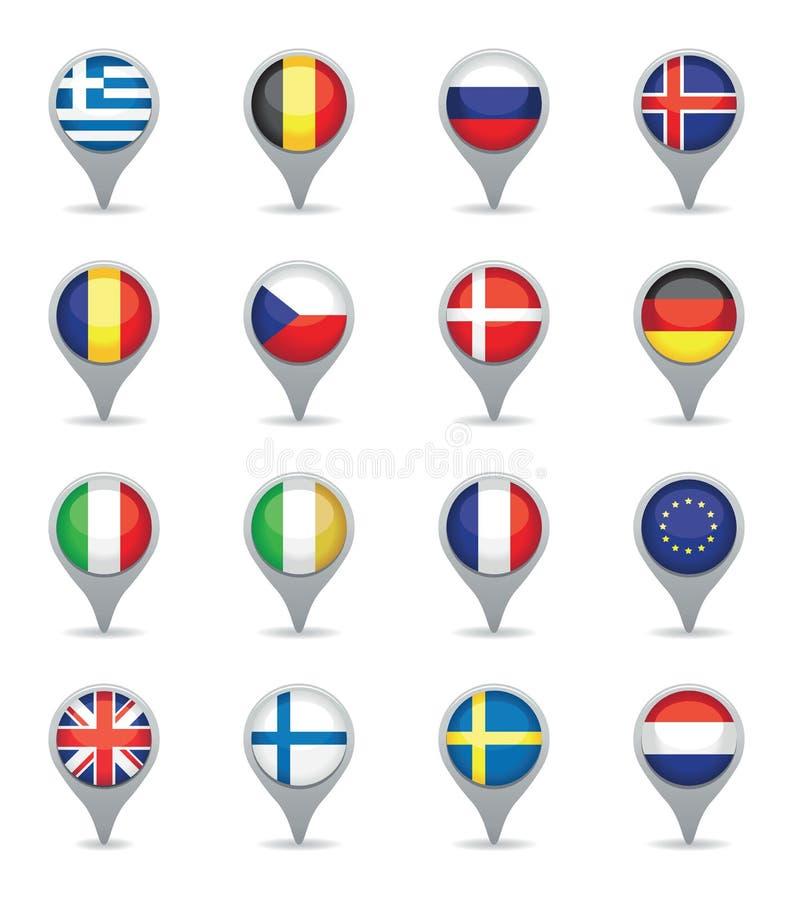Ponteiros europeus da bandeira ilustração stock