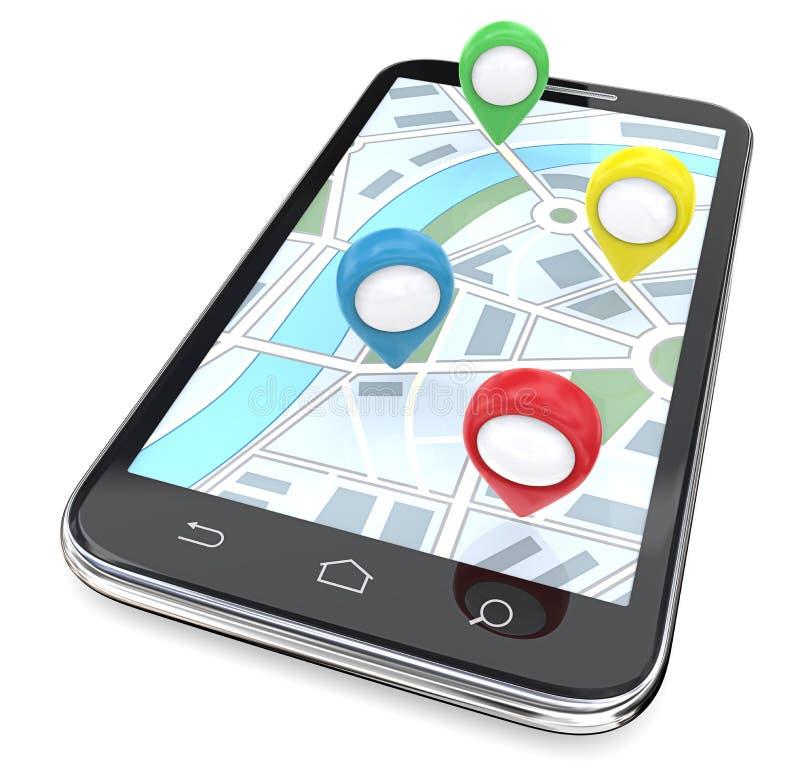 Ponteiros móveis de GPS ilustração royalty free
