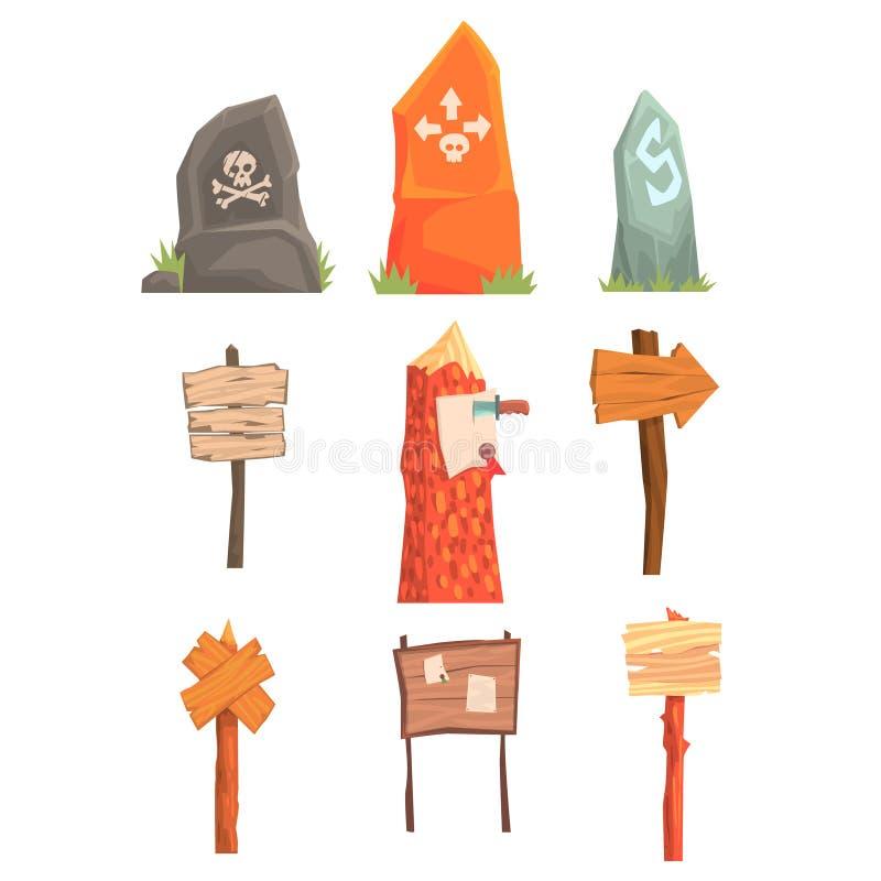 Ponteiros, placas do sentido e indicadores mortais do perigo ajustados de elementos do molde do jogo de vídeo ilustração stock