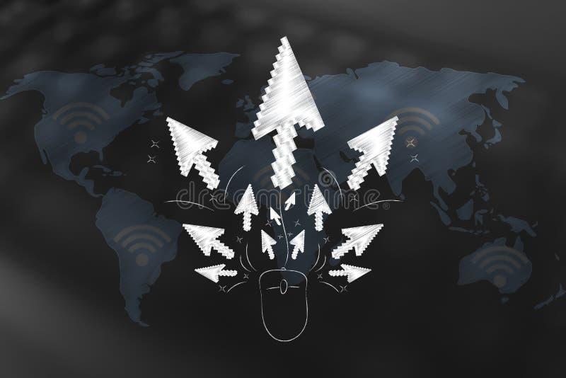 Ponteiros que espalham fora de um rato do computador sobre o mapa do mundo ilustração do vetor