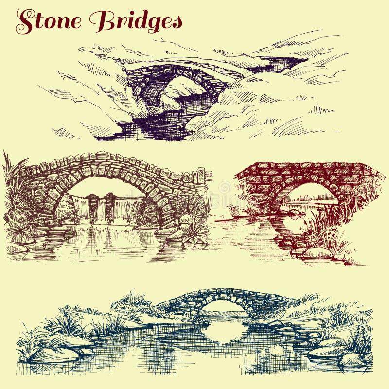 Pontes de pedra ajustadas ilustração do vetor