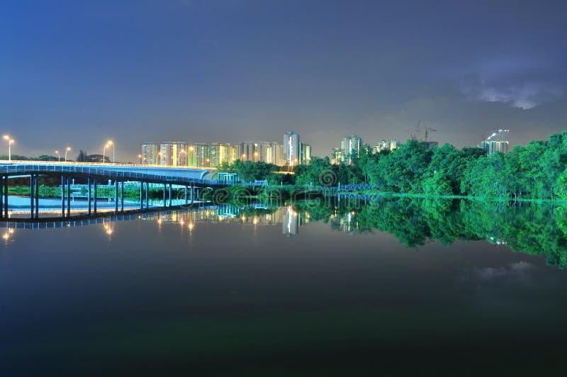 Pontes e hortaliças pelo rio na noite foto de stock