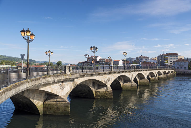 Pontevedra. Burgo Bridge at Pontevedra city. It was built in the 12th century near the former site of a Roman bridge, the old bridge that gave the city its name stock photos