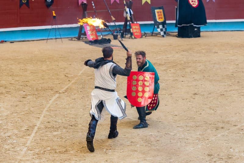 Pontevedra, España - 3 de septiembre de 2016: Festival del torneo medieval de los caballeros fotos de archivo libres de regalías